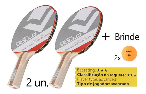 Imagem 1 de 7 de Kit 2 Raquete Tenis De Mesa Ping Pong Profissional  + Brinde