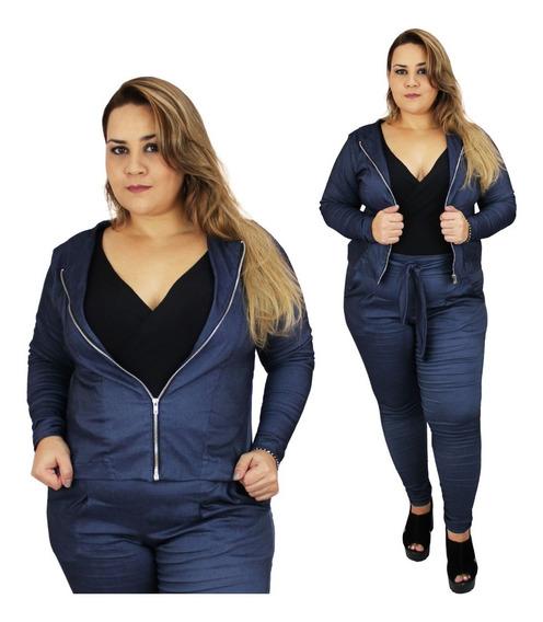Casaco Plus Size Bengaline Jeans