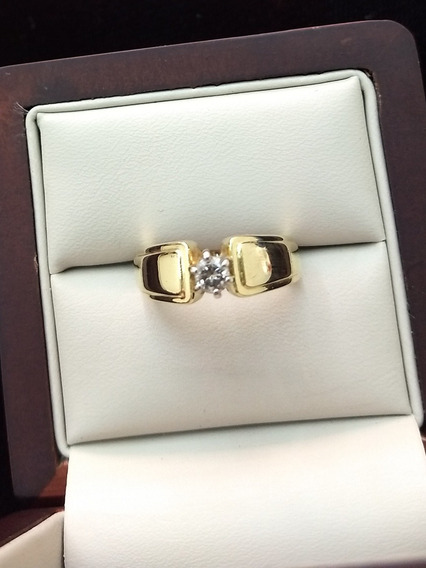 Anillo De Oro Amarillo 14k Solitario Con Diamante Natural