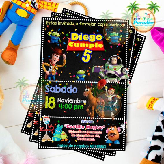 Invitacion Digital Tipo Pizarra Toy Story Imprimible