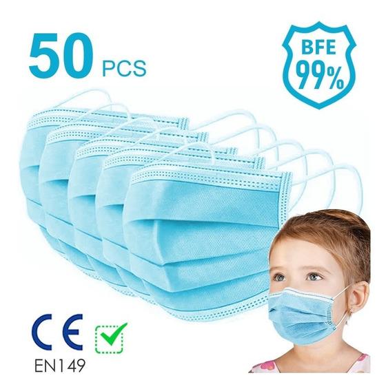 Cubrebocas Para Niños Mascara 3 Capas 50 Piezas Azul