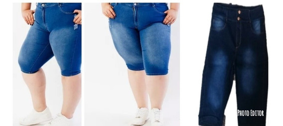 Bermuda De Jeans Tiro Alto Elastizado Talles Especiales