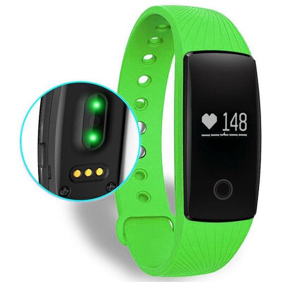 Pulseira Inteligente Smartband Monitor Cardíaco Id107 Verde