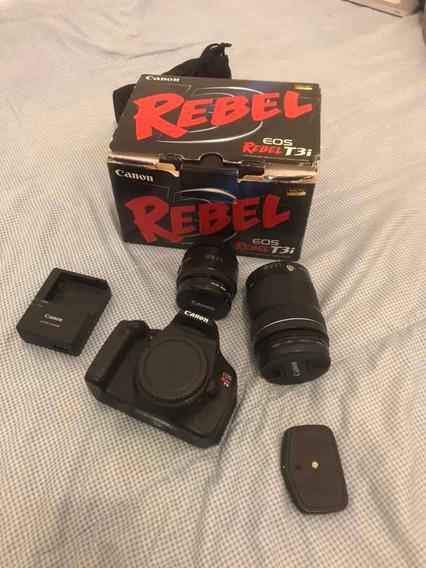 Canon Dt3i Usada, Pouco Uso, Com Duas Objetivas:135 E 50mm
