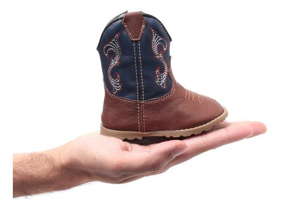 Bota Texana Infantil Bebê Masculina Em Couro Legítimo Azul Macia E Confortável