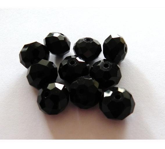Insumo Bisutería Joyería, Cristal Facetado Negro 12mm