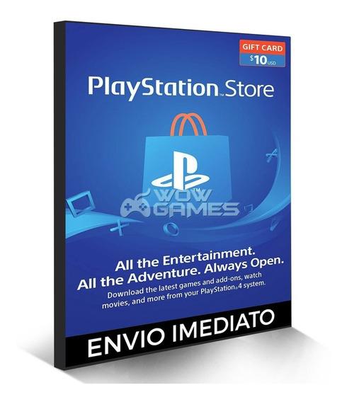 Cartão Psn $10 Dolares Playstation Network - Ps3 Ps4 Psvita