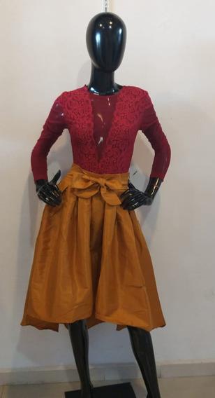 Falda Larga Color Mostaza Para Dama