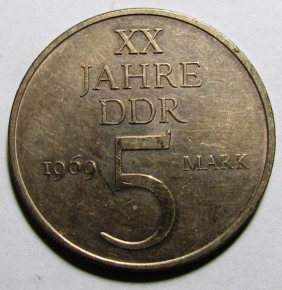 X Alemania Moneda 5 Marcos 1969 20º Aniv De La Rda