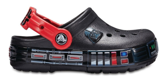 Crocs Star Wars Lights Luces Niños Nenes Negras Rojas Led