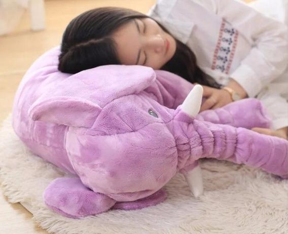 Elefante Rosa Grande 65cm Pelúcia Naninha Travesseiro Dormir