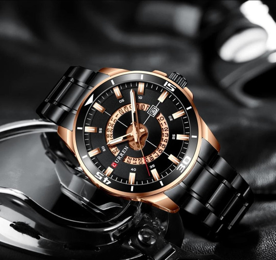 Relógio Curren Masculino Preto Luxo Black Friday Promoção