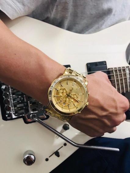Relógio Masculino Dourado Aço Technos Js26ak/4x Original Com Estojo