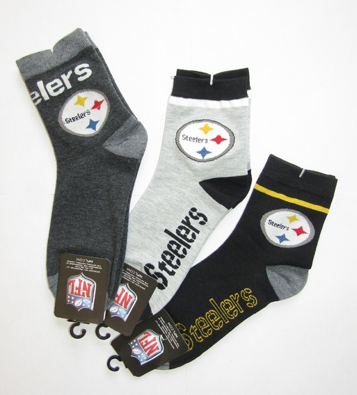 Lote 3 Pares Calcetas Nfl/ Pittsburgh Steelers