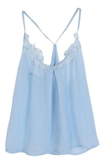 Blusa Dama Con Tirantes Y Encaje Azul Y Blanca Tallas Gran