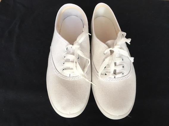 Zapatillas De Lona Blanca - Lote X 13 Pares