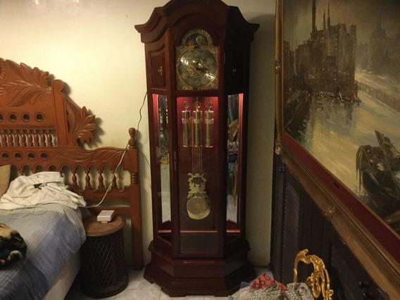 Reloj Granfather Hetschel Vitrinas Laterales Aleman 3 Cuerda
