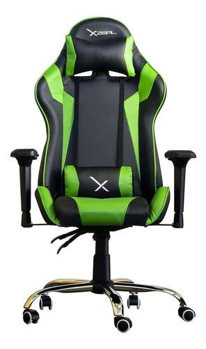 Imagen 1 de 2 de Silla de escritorio Xzeal XZ10 gamer ergonómica  negra y verde