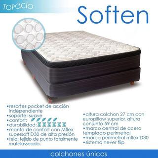 Colchon Topacio Soften Resorte Poquet Y Pillow 200x180x027