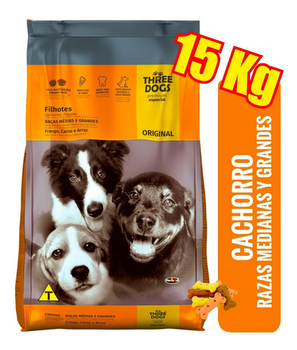Imagen 1 de 3 de Three Dogs Cachorro Mediano O Grande 15kg + Envío Ver Zonas