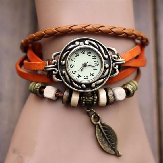 Relógio Feminino Pulseira Couro Laranja Com Pingente Vintage