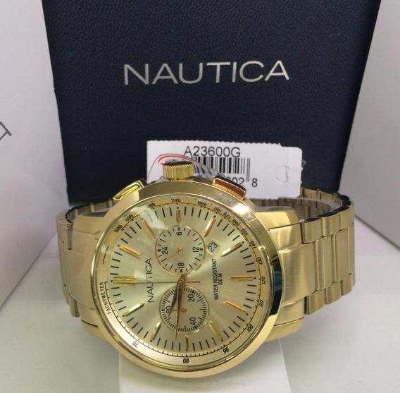Relógio Nautica Cronografo A23600g Banhado Dourado
