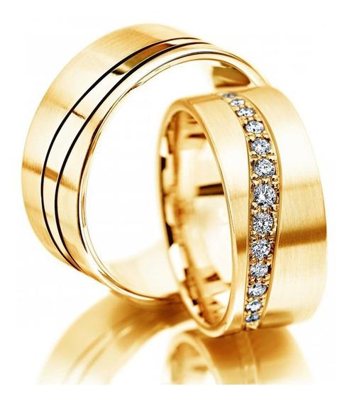 Alianças De Casamento De Ouro 18k E Diamantes Naturais Al09
