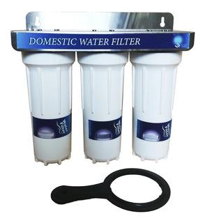 Filtro De Agua 3 Etapas Conexion 1/2 Carcasa 10 Pulgadas