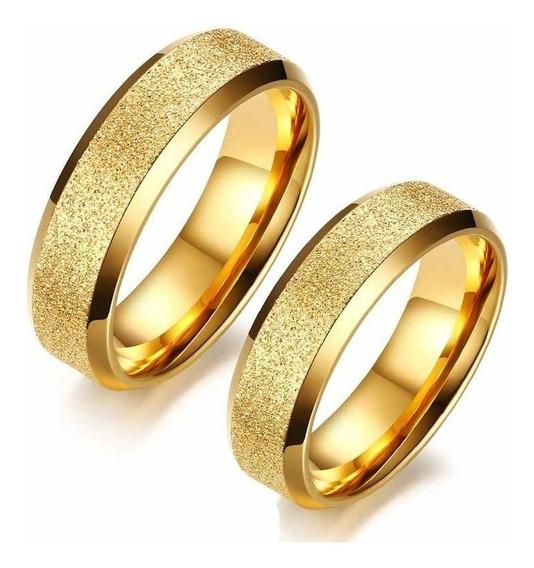 Par De Anéis Alianças Jateado Folheado Ouro 18k 6mm