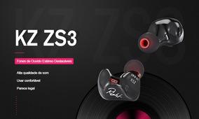 Fone De Ouvido Kz Zs3 Monitor/retorno Palco Com Mic + Estojo