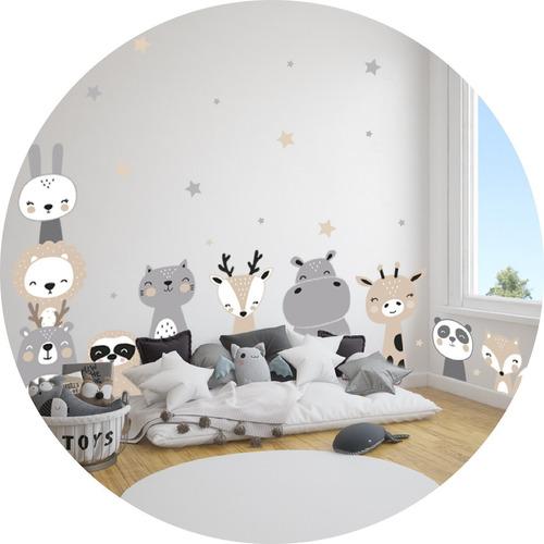 Imagen 1 de 4 de Vinilo Decorativo Infantil Animalitos Nordico