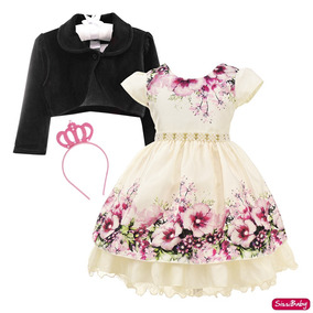 Vestido Infantil Floral Bolero Jardim Encantado Luxo E Coroa