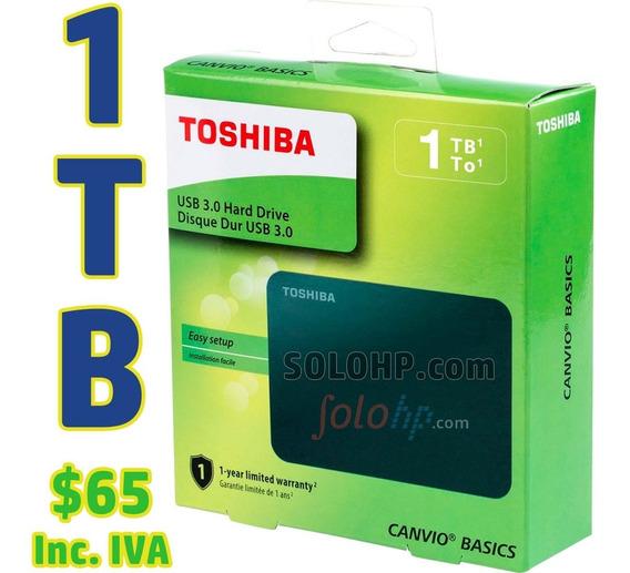 $65 Incl.iva Disco Duro Externo 1tb Toshiba Basic Nuevo 2019
