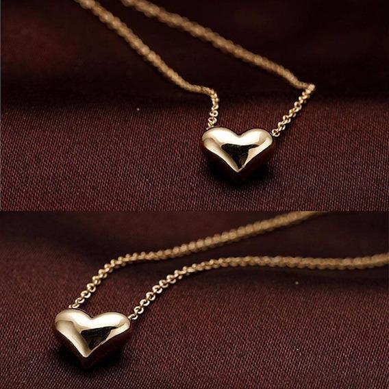 Colar Feminino Pingente Coração Banhado Ouro Rose - J1942