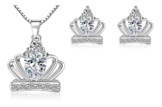 Set Collar Y Aretes Baño Plata 925, Crown Corona
