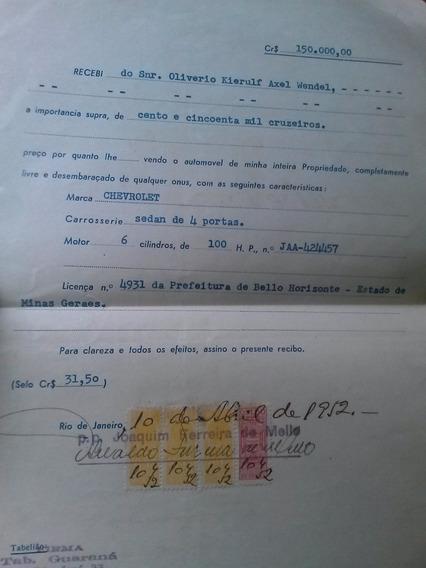 Recibo Selado 1952 - Venda De Automóvel - Bh/mg
