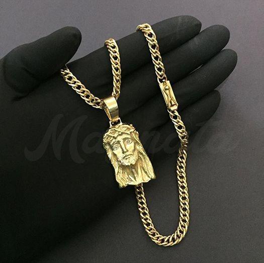 Cordão Grumet Duplo 6mm + Pingente Cristo Banhado A Ouro 18k
