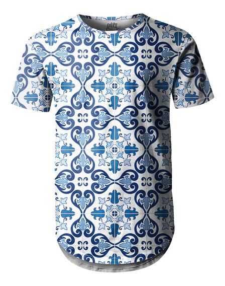 Camiseta Masculina Longline Swag Azulejo Português