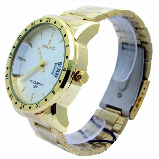 Relógio Masculino Atlantis Original Dourado Calendário