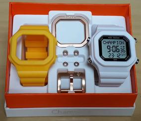 Relógio Champion Yot Cp40180x Kit Amarelo Branco Peças Rose