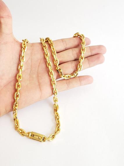 Cordão 8mm Cadeado Banhado A Ouro 18k