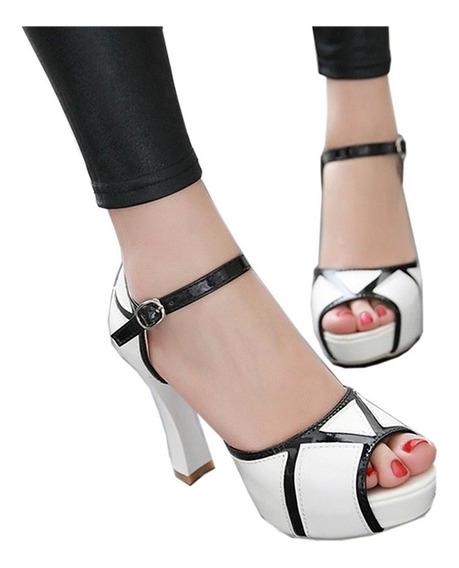 Zapatos De Fiesta Blanco Y Negro