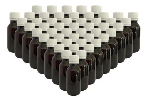 Imagen 1 de 2 de 50 Pack Botella Plástico 40 Ml Ambar C/tapa