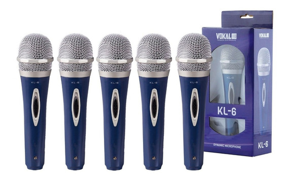 Kit 5 Microfone Profissional Dinâmico Vokal Kl6 + Cabo 4m