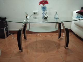 Mesa De Decorativa En Vidrio Con Patas Metalicas Y Madera