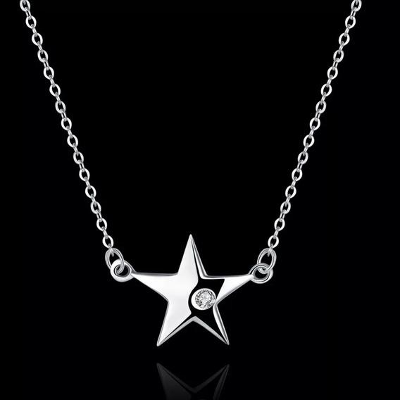 Collar Plata 925,dije De Estrella Con Zirconia