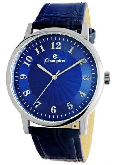 Relogio Masculino Prata Champion Couro Azul Cn20560f