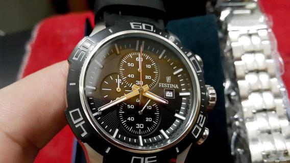 Relógio Festina F16566 Cronógrafo Preto Estado De Novo