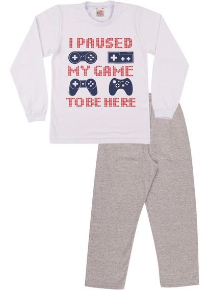 Pijama Infantil Menino Meia Malha Longo Inverno Isensee