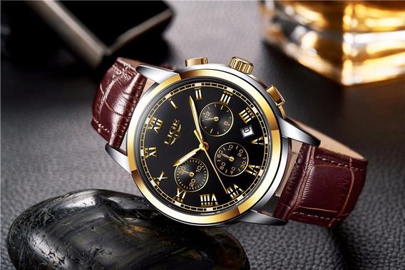 Relógio Liger De Luxo Original Na Caixa Barato + Brinde